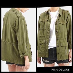 Topshop olive Elsa 4 pockets military jacket 8